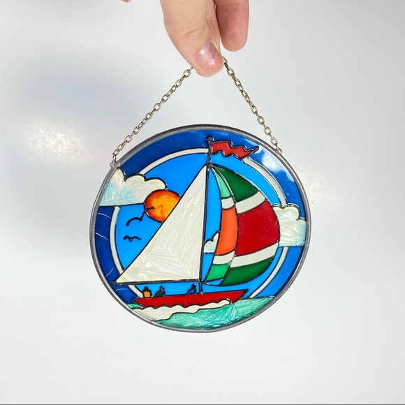Vintage Sailboat Stained Glass Painted Sun Catcher
